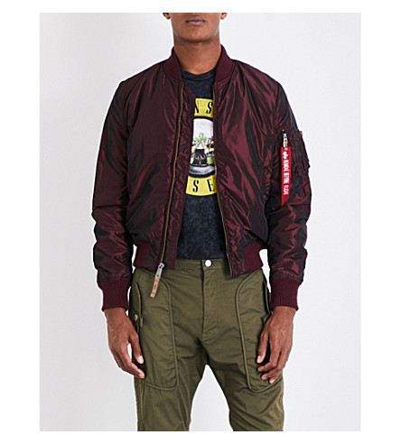 ALPHA INDUSTRIES MA-1 iridescent shell bomber jacket (Burgundy