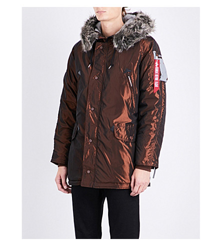 ALPHA INDUSTRIES N3-b quilted shell parka coat (Copper