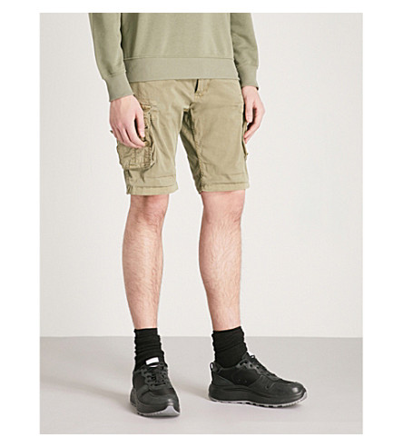 ALPHA INDUSTRIES Cargo stretch-cotton shorts (Lt+olive