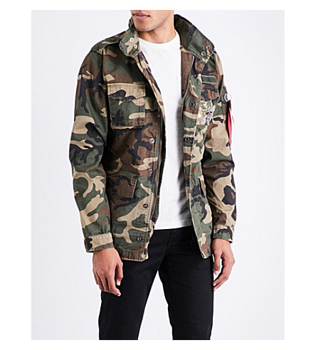 ALPHA INDUSTRIES Huntington embroidered camouflage cotton jacket (Wild+camo
