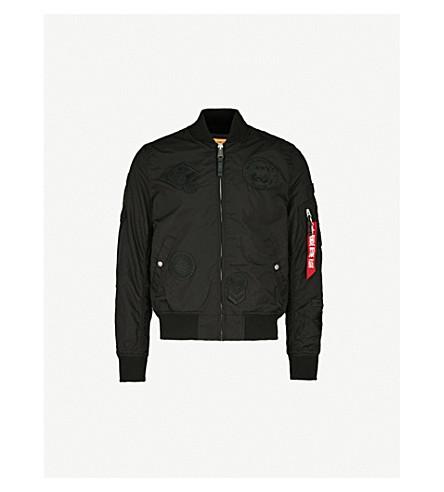 ALPHA INDUSTRIES MA-1 appliquéd shell bomber jacket (All+blk