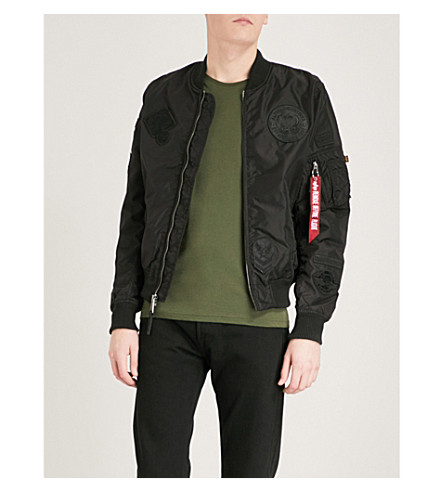 ALPHA INDUSTRIES MA-1 appliquéd shell bomber jacket (All+blk