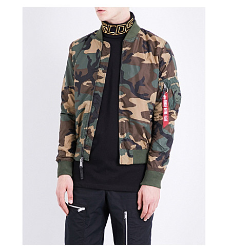 ALPHA INDUSTRIES Camouflage-print shell bomber jacket (Woodland camo