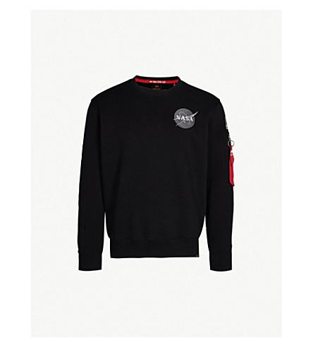 ALPHA INDUSTRIES Appliquéd camo-print cotton-jersey sweatshirt (Black