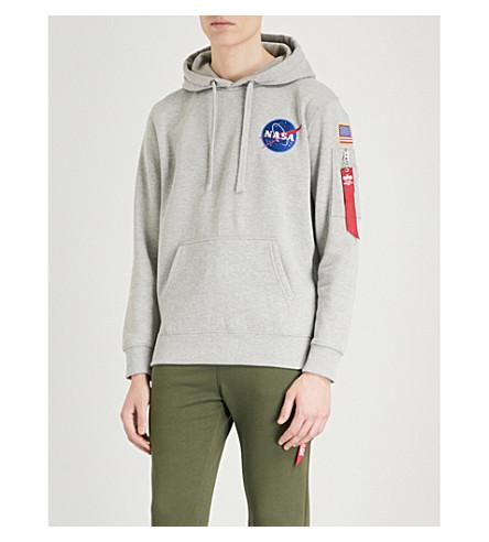ALPHA INDUSTRIES Appliquéd cotton-jersey hoody (Grey