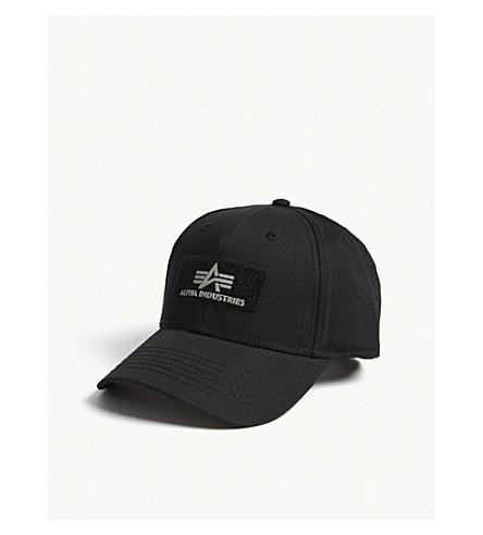 ALPHA INDUSTRIES Riptape logo cotton strapback cap (Black