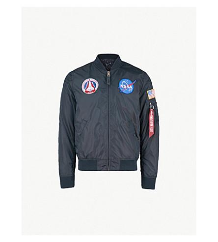 ALPHA INDUSTRIES MA-1 appliqué reversible satin bomber jacket (Rep+blue