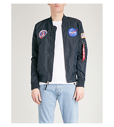ALPHA INDUSTRIES MA-1 appliqué reversible satin bomber jacket (Rep+blue