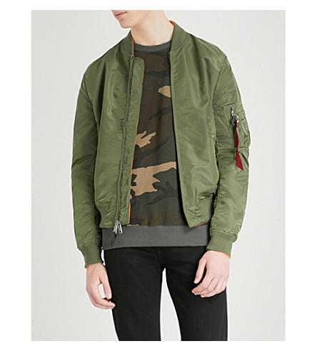 ALPHA INDUSTRIES MA-1 shell bomber jacket (Sage+orange
