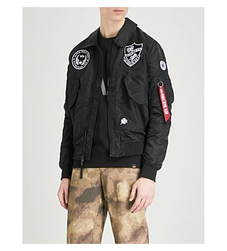ALPHA INDUSTRIES Appliquéd shell jacket (Black