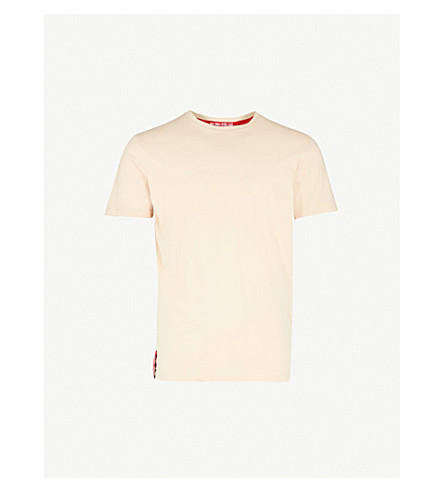 ALPHA INDUSTRIES Printed cotton-jersey T-shirt (Caramel