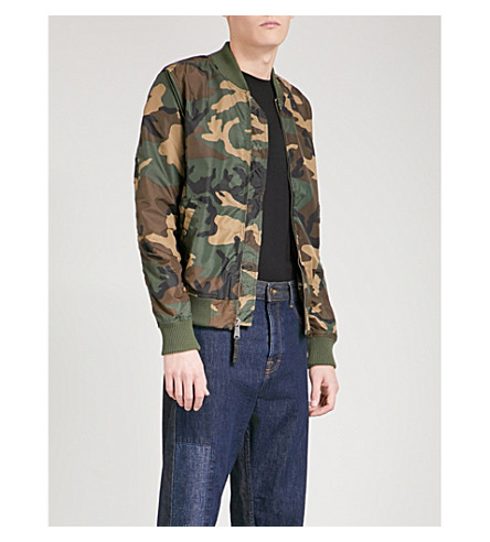 ALPHA INDUSTRIES MA-1 camouflage-print shell bomber jacket (Woodland+camo