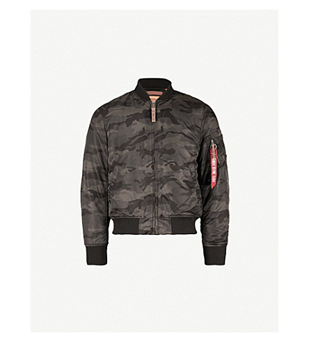 ALPHA INDUSTRIES MA-1 shell bomber jacket (Black+camo