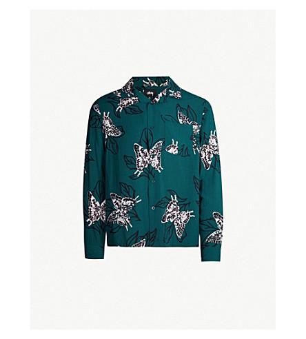 STUSSY Butterfly-print regular-fit woven shirt (Pine