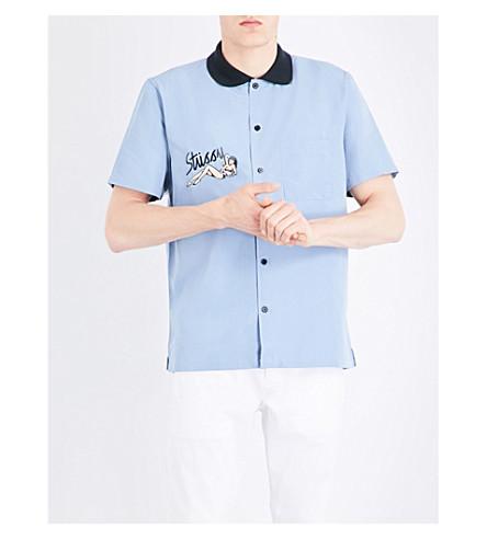 STUSSY Garage collar woven shirt (Blue
