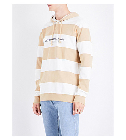 STUSSY Striped cotton-jersey hoody (Khaki