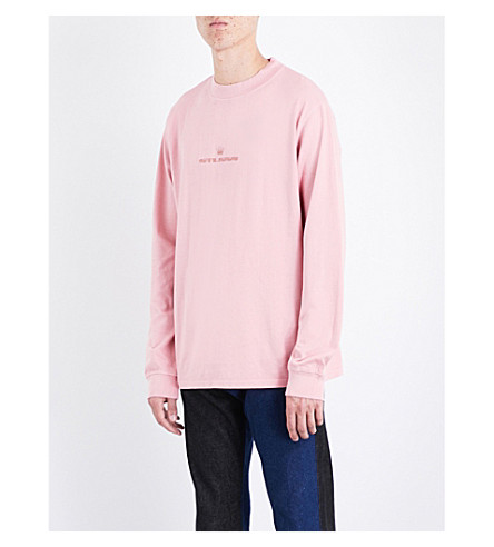 STUSSY Logo-embroidered cotton-jersey top (Pink