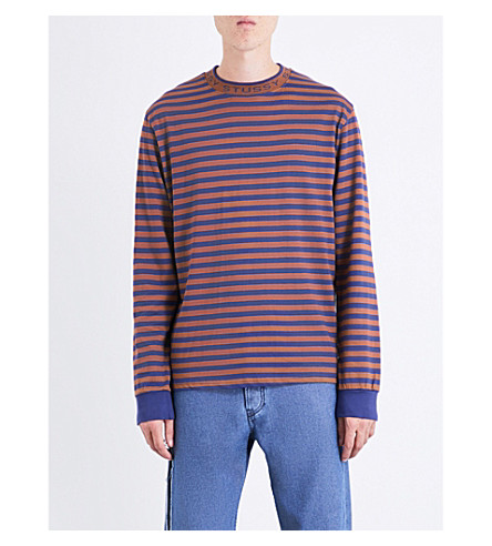 STUSSY Striped cotton-jersey top (Blue