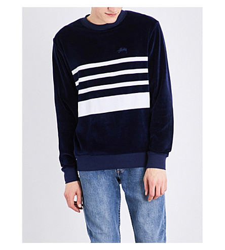 STUSSY Striped velvet sweatshirt (Navy