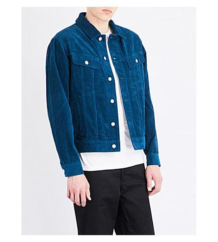 STUSSY Trucker corduroy cotton jacket (Dark+teal