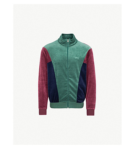 STUSSY Velour panelled track jacket (Green
