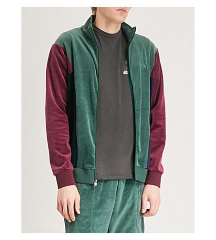 STUSSY Velour panelled track jacket (Green