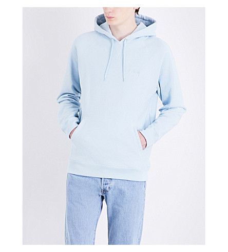 STUSSY Stock logo-embroidered cotton-jersey hoody (Sky+blue+su17