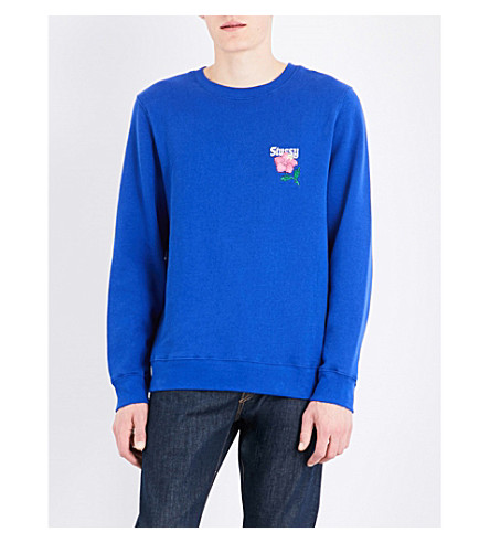 STUSSY California appliqué cotton-blend sweatshirt (Dark+blue