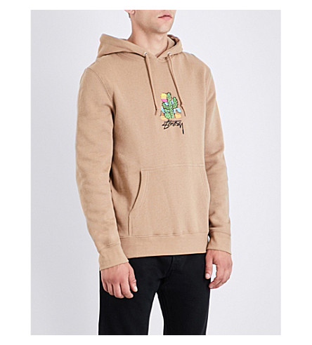 STUSSY Cactus-embroidered cotton-jersey hoody (Light+brown