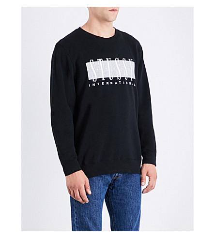 STUSSY Embroidered logo-print cotton-blend sweatshirt (Black