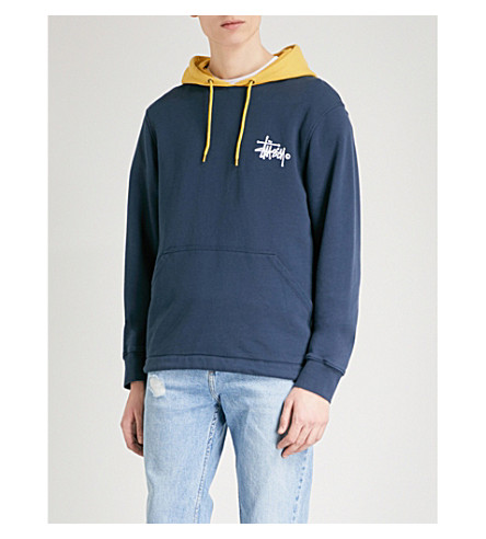 STUSSY Two-tone cotton-jersey hoody (Dark+navy