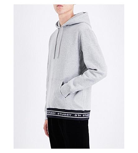 STUSSY Logo hem cotton-jersey hoody (Greyheather