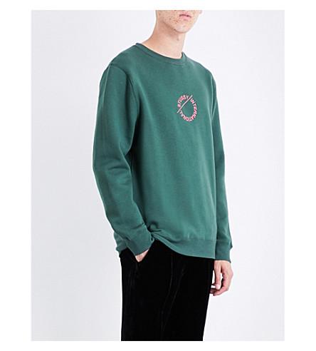 STUSSY Logo-embroidered jersey sweatshirt (Dark+forest