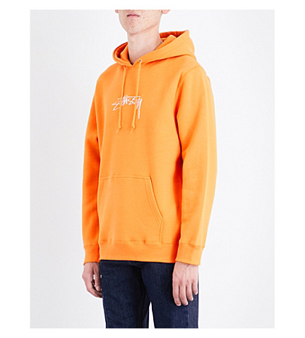 STUSSY Logo-embroidered jersey hoody (Apricot