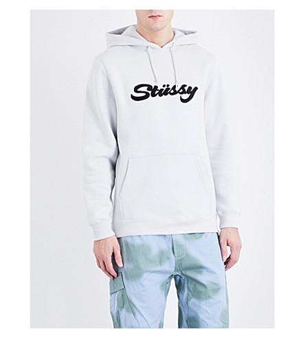 STUSSY Logo appliqué cotton-blend hoody (Fog
