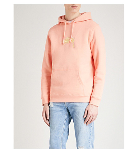STUSSY Logo-embroidered cotton-blend hoody (Salmon