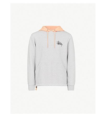 STUSSY Colour-blocked drawstring cotton-jersey hoody (Grey heather