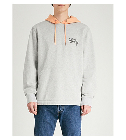 STUSSY Colour-blocked drawstring cotton-jersey hoody
