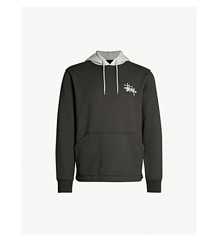 STUSSY Two-tone cotton-jersey hoody (Black