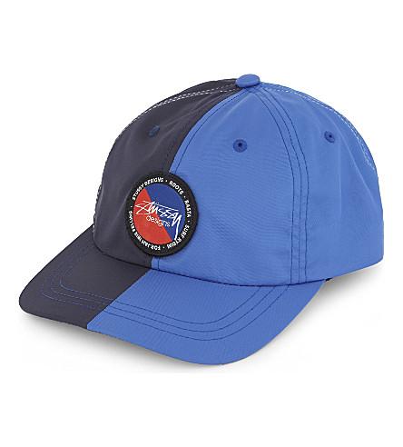 STUSSY Logo two-tone six-panel strapback cap (Blue