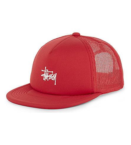 STUSSY Script trucker snapback cap (Red