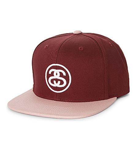 STUSSY SS Link cotton snapback cap (Plum