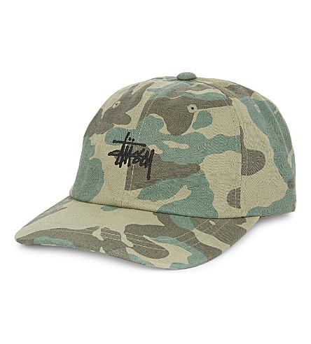 STUSSY Script jacquard-camouflage cotton strapback cap (Green