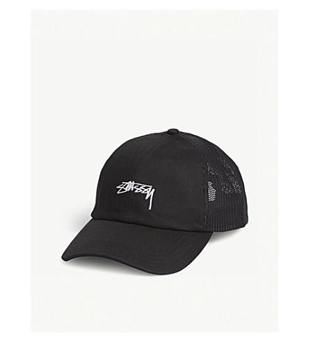 STUSSY 标志卡车司机 snapback 帽 (黑色