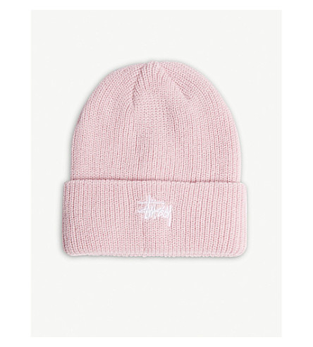 STUSSY Logo cuff beanie hat (Pink