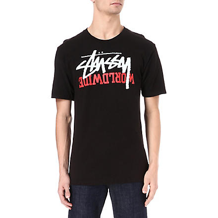 STUSSY Stock worldwide t-shirt (Black