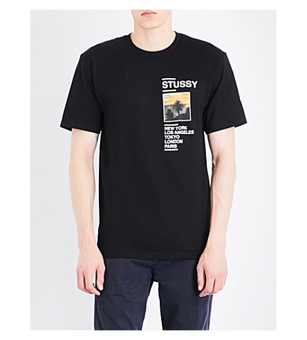 STUSSY Coast-print cotton-jersey T-shirt (Black