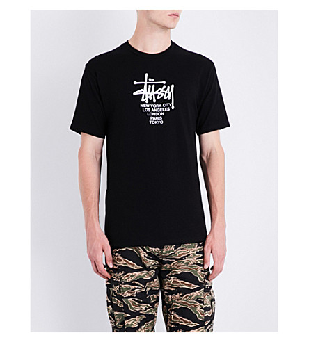 STUSSY Big Cities cotton-jersey T-shirt (Black