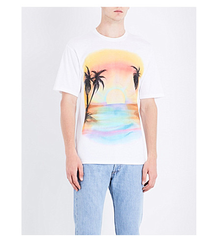 STUSSY Sunset cotton-jersey T-shirt (White