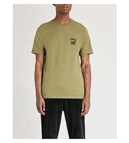 STUSSY Stock Lion cotton-jersey T-shirt (Olive